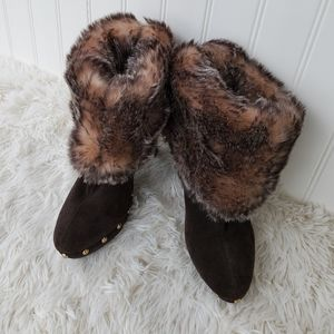 Michael Kors Brown Suede Studded Furry Boots